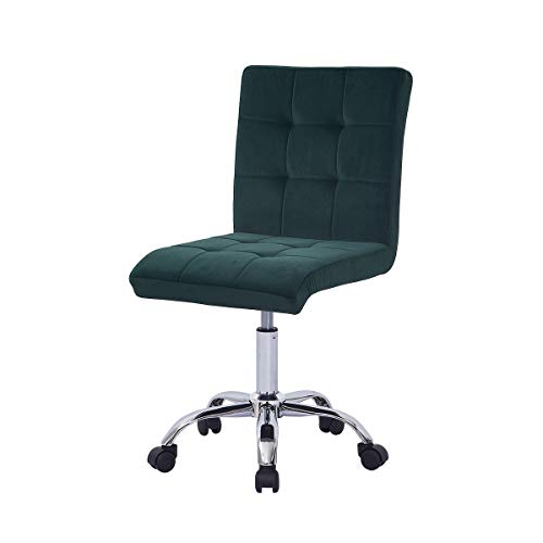 Farelves Green Velvet Desk Chair for Home Office Chair without Arms Ergonomic Computer Chair Height Adjustable Swivel Chair Task Chair with Chrome Base