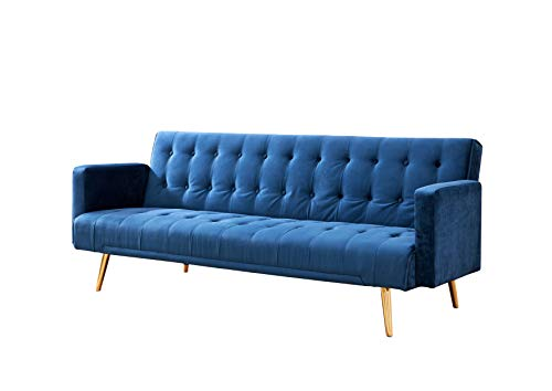 Home Detail Velvet Three Seater Sofa Bed in Grey Pink Blue or Green with Contrast Golden or Rose Gold Finish Legs (Blue with Golden Legs)