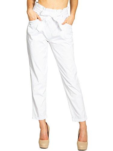 Caspar KHS048 Pantalones Modernos de Estilo Paperbag para Mujer de Algodón, Color:Blanco, Talla:XL - DE42 UK14 IT46 ES44 US12