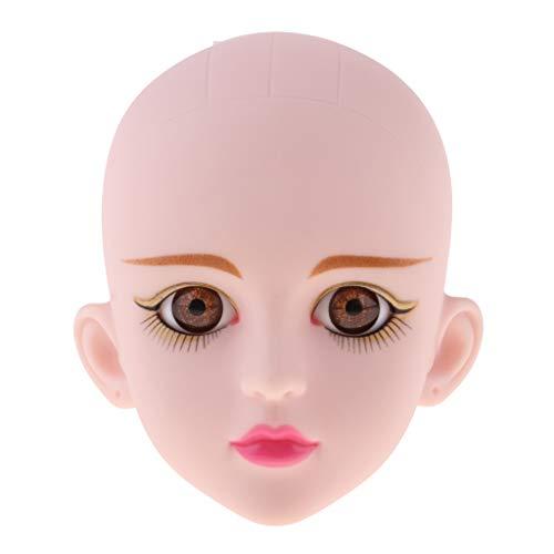 FLAMEER Weiblicher Puppenkopf Mit 3D Augen Für 1/4 BJD, OB, PB, Xinyi Puppen Zubehör - Goldener...