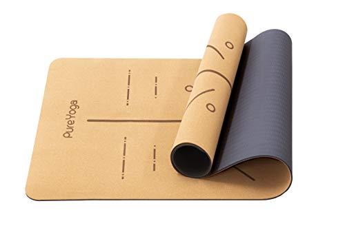 Pure Yoga Yogamatte aus Kork - Naturkork - rutschfest – Extra Breit - Umweltfreundlich – Sehr Leicht - Ausrichtungssystem - inklusive Tragegurt (183 cm x 66 cm x 0,5 cm)
