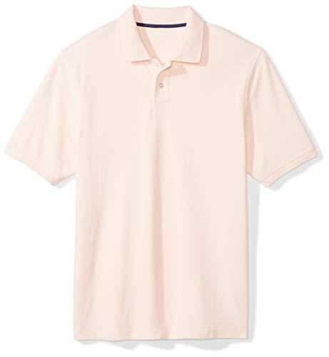 Amazon Essentials Men's Regular-Fit Cotton Pique Polo Shirt, light pink, Large