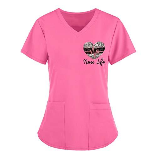VEMOW Tops de Mujer Uniforme de Trabajo Uniforme Estampado Camisa de Manga Corta Blusa con Cuello en V, St. Patrick's Day Trabajo Enfermera Médicas Bolsillo Uniforme SPA Salón de Belleza Ropa