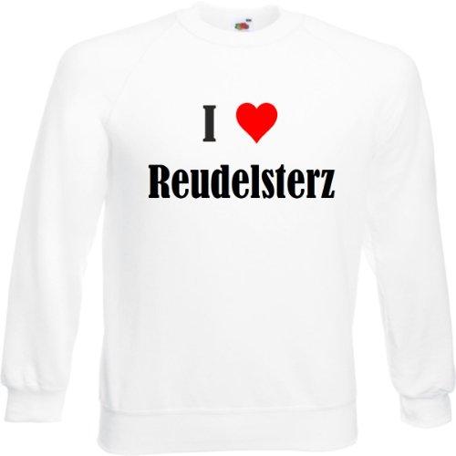 Sudadera con texto 'I Love Reudelsterz para mujer, hombre y niños en los colores negro, blanco y azul con estampado Blanco XXL