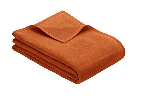Ibena Porto Kuscheldecke 150x200 cm - Wolldecke orange einfarbig, pflegeleichte Baumwollmischung, kuschelig weich und angenehm warm