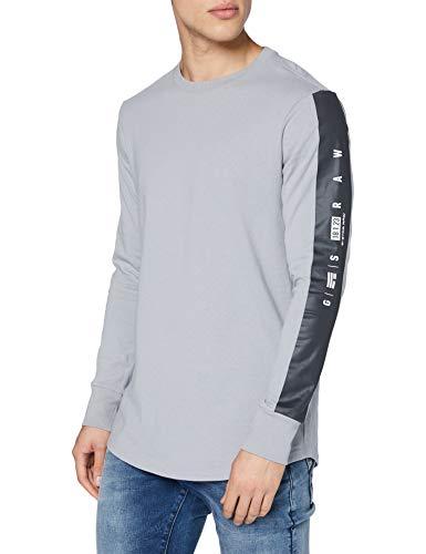 G-STAR RAW Mens GS RAW Sleeve Logo+ T-Shirt, Steel Grey C336-B959, XL
