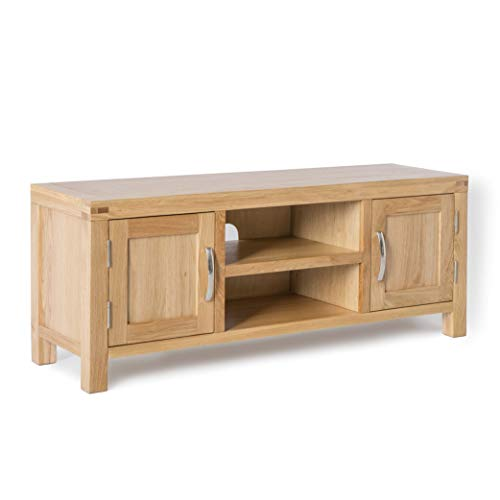 Abbey Light Oak Large TV Cabinet Unit | Roseland Furniture 120 cm Solid Wood Television Table Stand for TVs up to 54 inches for Living Room or Bedroom | Fully Assembled