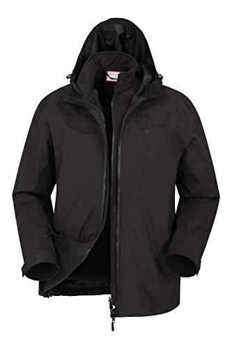 Mountain Warehouse Urban Recycled Mens Waterproof 3-in-1 Jacket - Breathable Rain Wear, Detachable Inner Softshell Rain Coat, Zipped Pockets - Best for Winter, Camping Black L