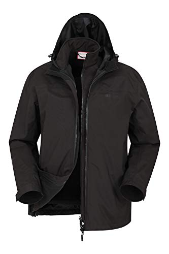 Mountain Warehouse Recycled Mens 3 in 1 Waterproof Jacket - Winter Black X-Small