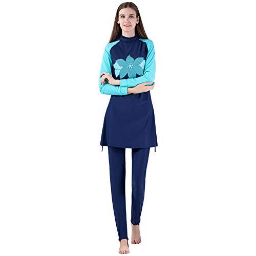 Meijunter Modeste Muslim Swimwear - Ensemble de Maillot de Bain UPF 50+ à Manches Longues Hijab Couverture Complète Surf Suit Élastique Burkini Séchage Rapide Beachwear Splicing
