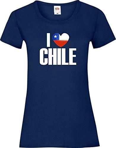 Shirtinstyle Chemise Dame WM Shirt de pays I love Chile plusieurs couleurs, Tailles 30-46 - Marine, M