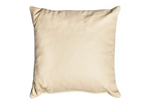 Centaur - Cojines de Cuero Decorativos para el sofá o el Dormitorio 40 x 40cm champán/Amarillento - Cojines de Cuero Genuino Cojín de sofá de Cuero Genuino Look