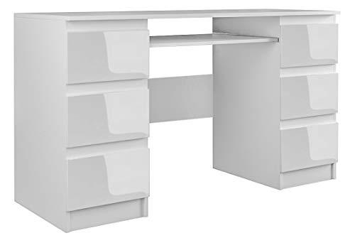 ADGO Mesa de ordenador Kuba con 6 cajones, 130x76x51cm, soporte para teclado, mesa de oficina, espacio de almacenamiento, escritorio para trabajo, oficina (envío en 2 paquetes)(blanco brillante)