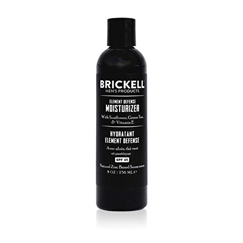 Brickell Mens's Element Defense Moisturizer with SPF45 for Men, Natural & Organic, Zinc SPF45 Sunscreen, Hydrates and Protects Skin Against UVA/UVB Rays, 8 Ounce, Unscented