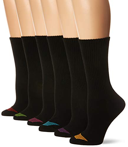 Hanes Women's Ultimate Lightweight Vent Crew Sock 6-Pack, black, Shoe Size: 5-9