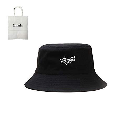 Lanly Sombrero de pescador para el sol, unisex, 100 % algodón, plegable, de senderismo