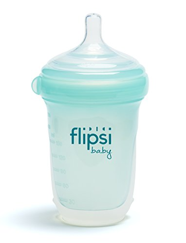 Flipsi Natural Silicone Baby Bottle | 8 oz - Natural, BPA-Free, Colic Reduction, Easy Clean,...