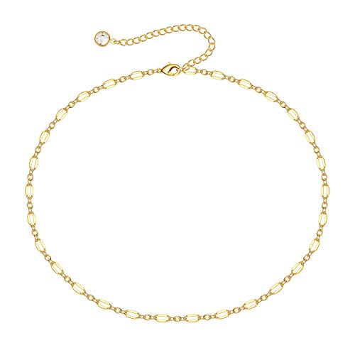 MONOOC Choker Necklaces for Women, Dainty 14K Gold Plated Layered Star Pearl Choker Necklace, Simple Cute Beaded Chain Link Choker Necklace Womens Small Short Necklaces Jewelry for Teen Girls