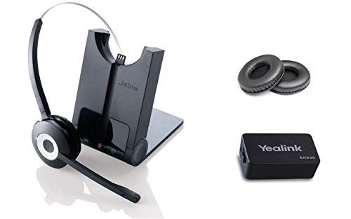 Yealink Phone Compatible Wireless Headset | Yealink SIP Phones: T48G, T46G, T42G, T41P, T38G, T28P, T26P | Yealink Wireless EHS Headset Adapter | Jabra PRO 920 Bundle with Bonus Premium Ear Cushions
