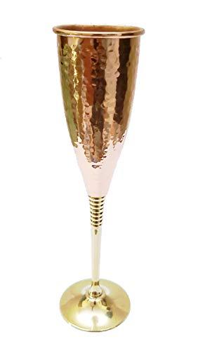 Copa de vino de vidrio único cáliz de vino de alta calidad hecha a mano, de cobre para vino, ideal como regalo para moscú Mules 100% puro., Copas de champaña, 5 onzas...