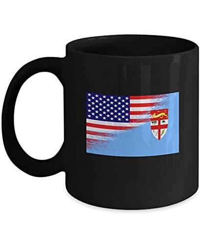 USA Fidschi Flagge polynesisch 11oz schwarze Kaffeetasse Teetasse