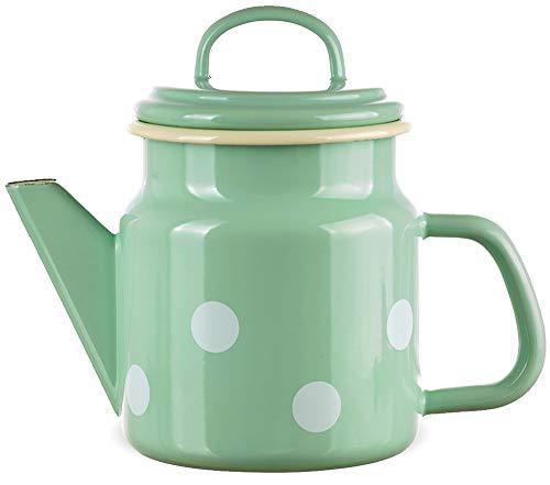 matches21 Trendige Email Teekanne/Kaffeekanne grün gepunktet nostalgisches Emaille Geschirr je 17x12 cm / 1000 ml
