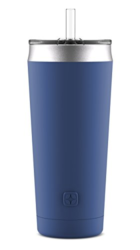 Ello Beacon Vacuum Insulated Stainless Steel Tumbler with Optional Straw, 24 oz, Bold Blue