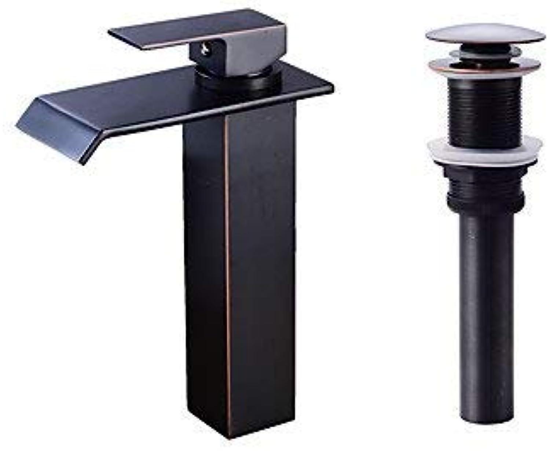 Wasserfall zentrale InsGrößetion Ein Knauf Ein Loch für polierte Bronze, Wasserhahn für Waschbecken