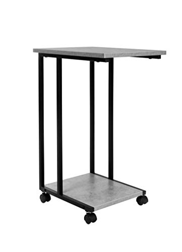 JJS Side End C Table for Sofa, Living Room Couch Table Snack Table That Slide Under for Small Spaces, Cement/Black