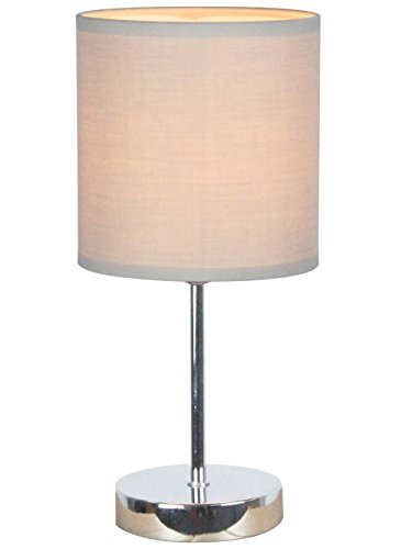 Simple Designs Home LT2007-GRY Simple Designs Chrome Mini Basic Table Lamp with Fabric Shade, 11.89 x 5.51 x 5.51, Grey