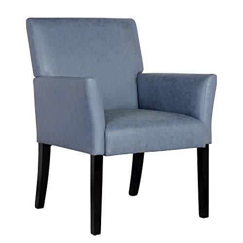 SixBros. 1010/7693 Esszimmerstuhl aus Kunstleder - Polsterstuhl mit Armlehne – Polstersessel in blau – Stuhl für Esszimmer Wohnzimmer Küche