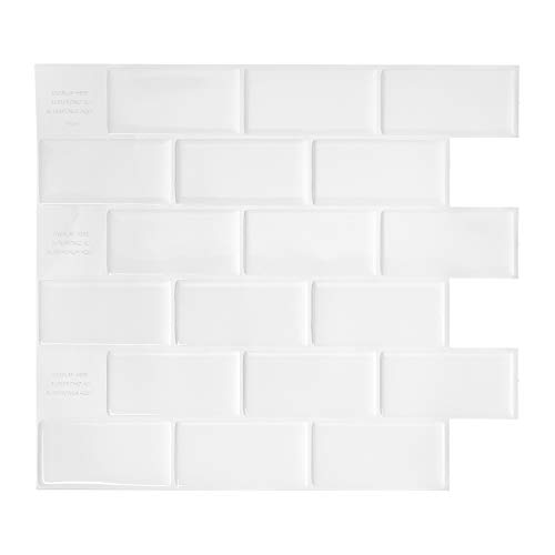 Smart Tiles Self Adhesive Wall Tiles - Subway White - 4 Sheets of 10.95' x 9.70' (25.4 x 22.86 cm) Kitchen and Bathroom Stick on Tiles - 3D Peel and Stick Backsplash