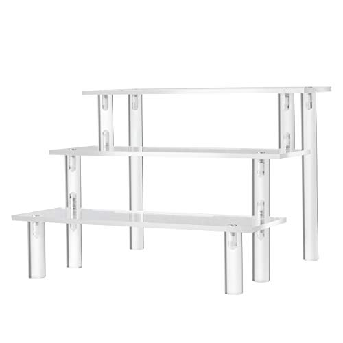 HERO MOOSE Clear Acrylic Riser Stand Display Shelf Set of 2 for Funko Pop, Amiibo Figure Display, Shelf Organizer and Display for Decoration (9x6 2-Pack)