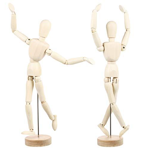 SUPVOX Zeichnung Schaufensterpuppe Figur Künstler Schaufensterpuppe Modell Holzpuppe zum Zeichnen Flexible Ästhetische Artikulierte Dekor Packung mit 2 Stück