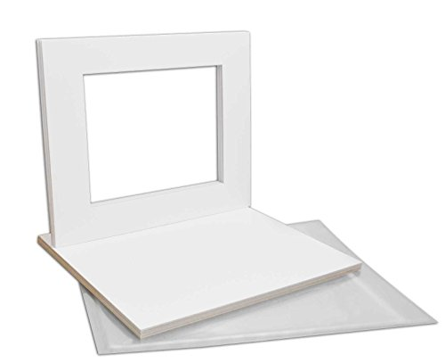 Golden State Art, Pack of 10 White Pre-Cut 16x20 Picture Mat for 11x14 Photo with White Core Bevel Cut Mattes Sets. Includes 10 High Premier Acid Free Mats & 10 Backing Board & 10 Clear Bags