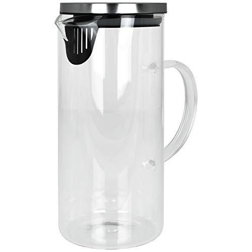 TW24 Alpina Glaskrug 1,3L mit Deckel und Fruchteinsatz Glaskanne Wasserkaraffe Glaskaraffe Wasserkrug Glas Karaffe Wasserkanne