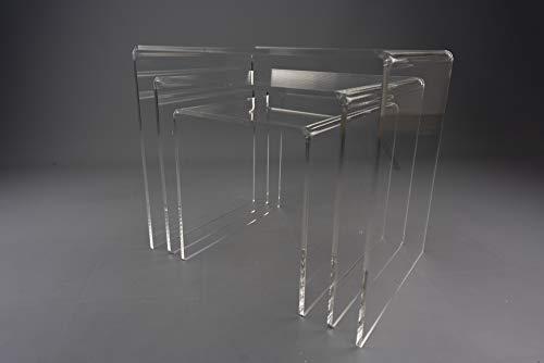 IKONA Trittico tavolini plexiglass | Tavolini in plexiglass Design Tris a Scomparsa | Disegnato e Prodotto in Italia (Trasparente)