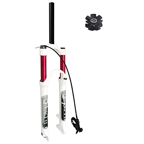 LvTu 26 27.5 29 inch MTB Bicycle Air Suspension Fork 130 Travel, Disc Brake Lightweight Straight Tube/Tapered Tube Mountain Bike Front Fork 9mm QR (Color : Straight Remote lock out, Size : 26')