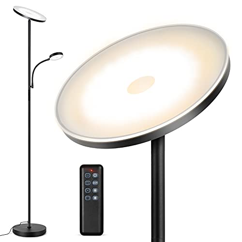 Outon LED Floor Lamp with Adjustable Reading Lamp, 27W Main Light & 7W Reading Lamp, Dimmable Standing Lamp with 4 Color Temperature, Remote & Touch Control for Living Room Bedroom Office, Black