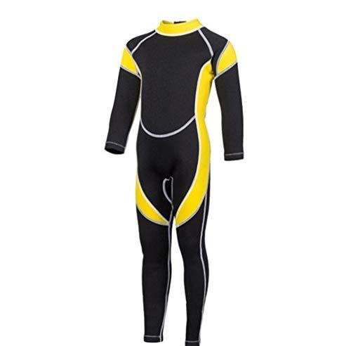 Z.L.FFLZ Nadelanzug 2.5MM Neopren Wetsuits Kids Swimwears Taucheranzüge mit Langen Ärmeln Jungen Mädchen Surfen Kinder Rash Guards Schnorchel EIN Stück h1 (Color : Gelb, Size : 4)