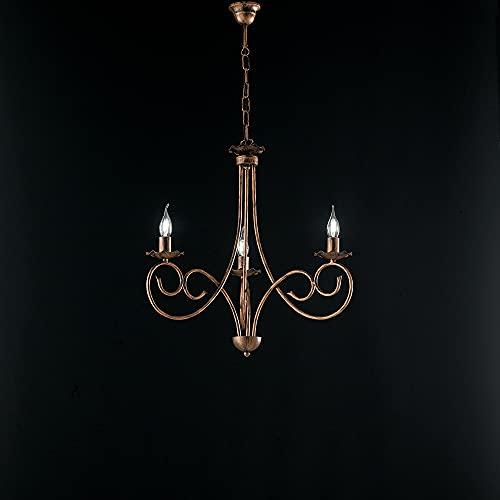 Lámpara provenzal candelabro 3 luces hierro forjado negro y cobre serie Alma