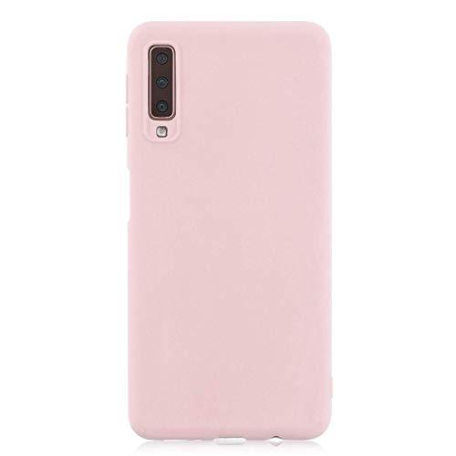 cuzz Funda para Samsung Galaxy A7(2018)+{Protector de Pantalla de Vidrio Templado} Carcasa Silicona Suave Gel Rasguño y Resistente Teléfono Móvil Cover-Rosa Claro