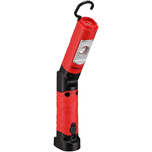 TORCHSTAR LED Work Light with magnetic Base, Multi-Function COB Portable Folding Flashlight, Battery-Operated & Rechargeable