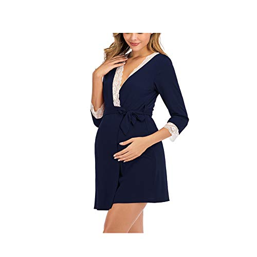 Robe de maternit/é Pyjamas,Femmes /à Manches Longues m/ère Dentelles Enceintes Allaitement b/éb/é Chemise de Nuit Bringbring