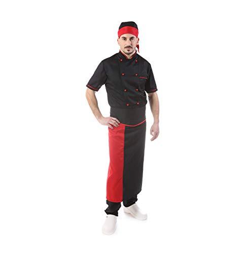 Completo Cuoco Nero - Profili Rossi - Ricamo Gratuito - Divisa Chef Uomo - 4 PZ - Giacca Manica Corta, Pantalone, Davantino, e Bandana - per Cucina e Ristorante - Made in Italy (M)