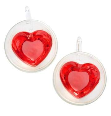 Cool Cook 2 Pack Heart Shaped Double Walled Insulated Glass Coffee Mugs or Tea Cups,Beautiful...
