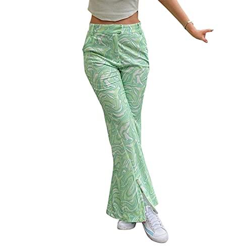 Mujeres Y2k Tie Dye Print Pantalones Vintage Cintura Alta Ancho Pierna Pantalones Holgados 90s E-Girl Flares Pantalones Streetwear
