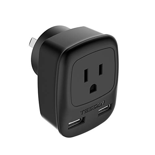 Australia Power Plug Adapter, TESSAN China New Zealand Power Adapter with 2 USB Ports, Type I Travel Adaptor for US to Australian New Zealand China Fiji Argentina