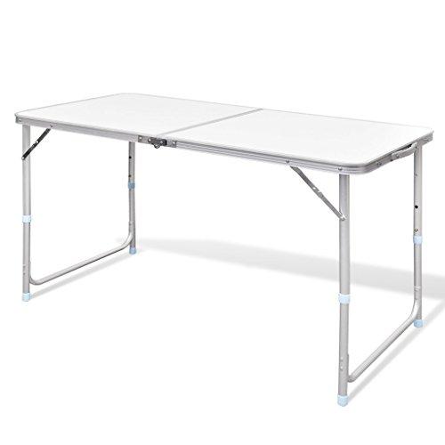 Festnight Campingtisch Klapptisch Zusammenklappbar Tisch Gartentisch aus Aluminium mit Tragegriff Höhenverstellbar 120 x 60 cm