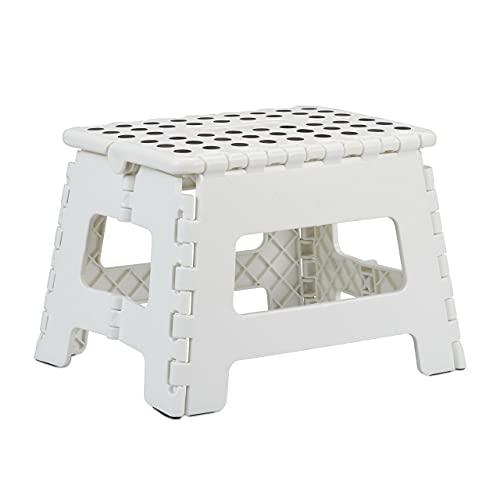 Relaxdays Tabouret Pliant M - Pliable - Portable - pour Le Voyage - Jusqu'à 120 kg - en Plastique - Hauteur : 22 cm - Blanc